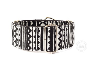 "Taiga, dog collar, black and white, wide sighthound collar, 2"" martingale, 1.4"" martingale"