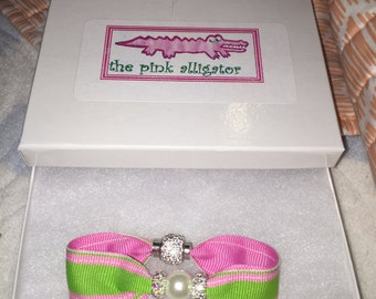 Preppy Pink and Green Pearl Bracelet
