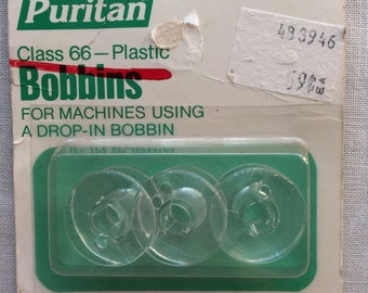 New Vintage 1985 3 Clear Plastic Sewing Machine Bobbins by Puritan - Class 66 for Top Drop-In Bobbin Cases