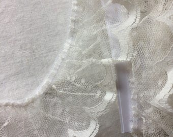 "Wide Off White Lace Trim 2-1/4"" wide x 3-7/8 yards long"