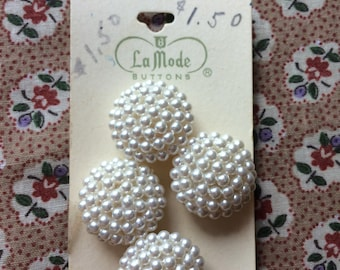 """Vintage 4 New Pearly White Beaded Round Buttons 7/8"""" Plastic by La Mode"""