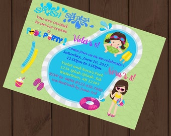 Ice Cream Pool Party  Invitation | Digital or Printed | End of the Year Invitation | Birthday Out Party | Pool Party | Ice Cream Party