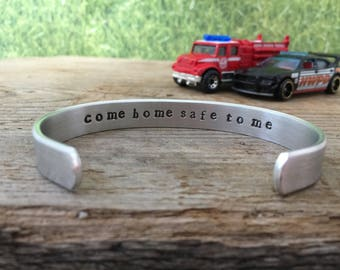 Come home safe to me cuff bracelet - hidden message
