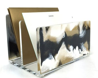 Letter Sorter-Acrylic-Marble-Black-White-Glitter-Gold-Desk Accessories-Made in USA