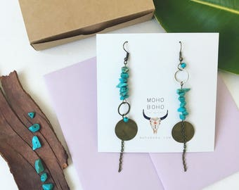 Boho asymmetrical earrings. Turquoise asymmetrical earrings. Bohemian earrings. Turquoise earrings. Moho boho gypsy earrings