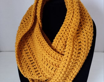 Crochet Infinity Scarf / Crochet gifts / Christmas gifts - Mustard Yellow