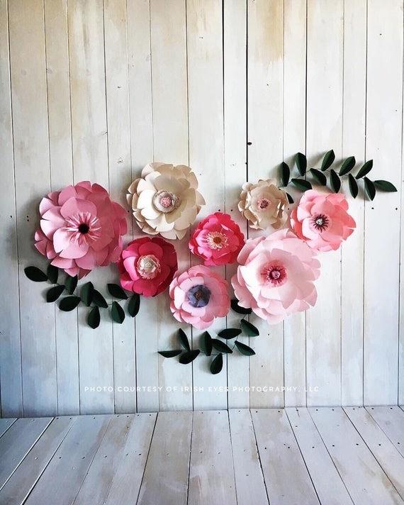 light pink large paper flowers girl bedroom wall decor dark. Black Bedroom Furniture Sets. Home Design Ideas