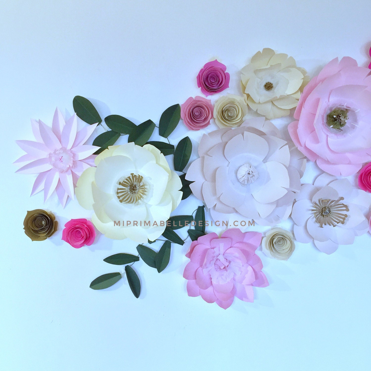 Pink And Cream Bedroom Paper Flowers In Pink Cream Gold Blush Vanilla Bean Color Combo