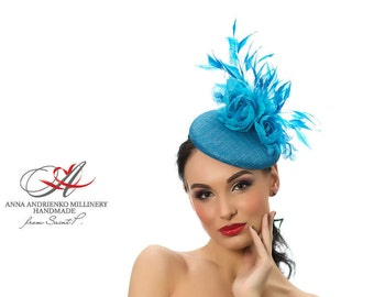 Turquoise Blue Designers Fascinator mini hat, Melbourne cup hat, Royal Ascot Derby hat, Wedding quest hat, couture derby
