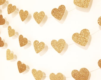 Gold glitter heart garland, Valentine's Day Garland, gold wedding garland