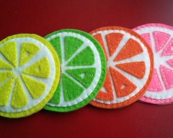 Fruit Coasters felt lemon lime orange pink grapefruit citrus fruit cottage chic kitchen cork back spring summer barware drink set of 4