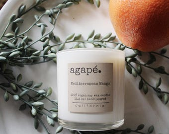 MEDITTERANEAN MANGO •• soy candle, hand poured candle, handmade candle, soy candles,  Agape Candles