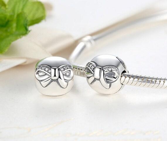 sterling 925 silver zirconia bow tie bead fits pandora
