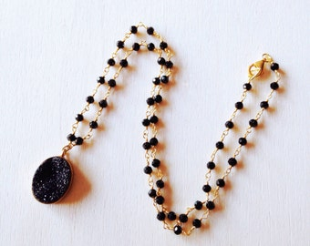 Onyx and black druzy necklace, gold plated silver necklace, for her