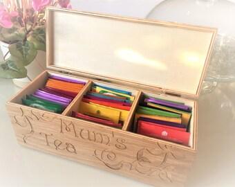 Personalised Engraved Tea Storage Box - Perfect Custom Gift For Tea Lovers - Bespoke Tea & Tea storage box | Etsy Aboutintivar.Com
