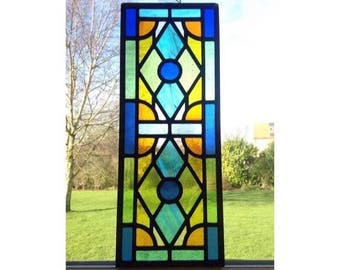 Traditional stained glass window panel, made to order