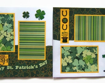 St. Patrick's Day Scrapbook Pages - St. Patrick's Day Layout - St. Patrick's Day Pages - St. Patrick's Day Premade Scrapbook Pages