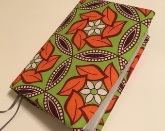 Colourful African NWT Bible cover - Flowered orange & lime green