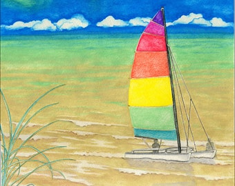 Free shipping in the U.S.!  Sailboat art print, colorful nautical beach decor, home or office decor or great house warming gift
