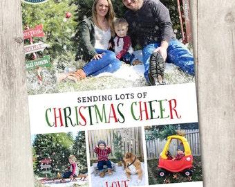 Printable photo Christmas card, sending Christmas cheer printable family holiday card with photos simple and playful