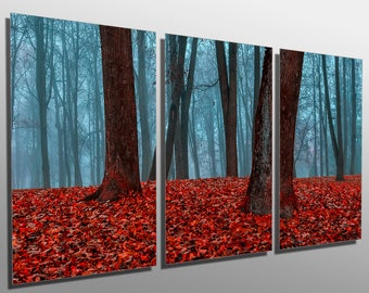 Metal Prints   Red Forest Blue Mist  3 Panel Split, Triptych   Multi Panel