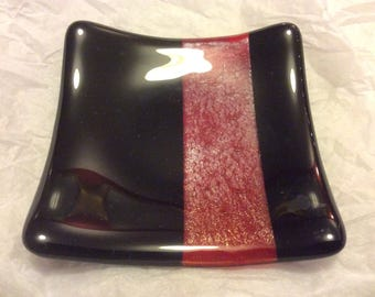 Black and red, fused glass trinket dish