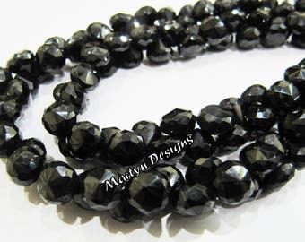 Natural Black Spinel Faceted Onion Shape Beads , Beautiful Black Spinel Fancy Shape 6-7mm Size Beads , Length 10 inch Long , Side Drilled