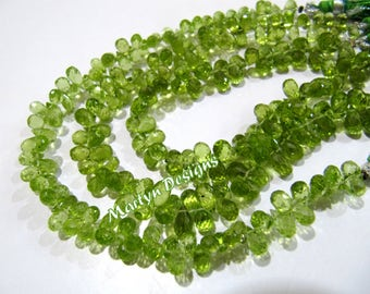 Top and Fine Quality Beautiful Peridot Beads , Peridot Faceted Drop Shape Beads , Side Drilled Briolette , 4x6 to 5x8mm Size , Length 8 inch