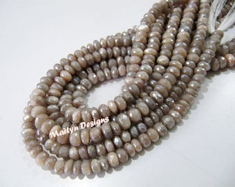 Exclusive Quality Natural Peach Moonstone Beads , Rondelle Faceted AB Coated Peach Moonstone Beads , Strand 13 inch long ,8mm Size Beads