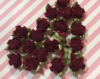 50pcs Mini Maroon Satin Flowers|Ribbon Fabric Flower Applique|Shabby Chic Baby Doll|Cabbage Rose|Tiny Bow Ribbon Hair Bows Headband