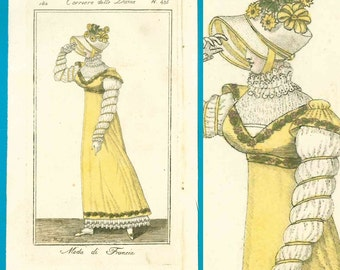 Antique 1812 Italian fashion print Corriere delle Dame yellow gown bonnet ribbon sleeves
