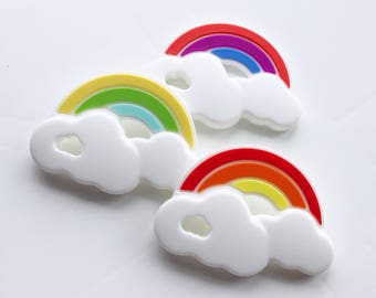 New Large Rainbow Baby Cloud Teether Silicone Pendant, DIY Teething Necklace Toy Jewelry, girl chew red orange yellow green blue purple sea