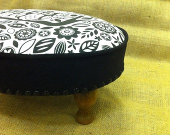 Vintage footstool black and white owls