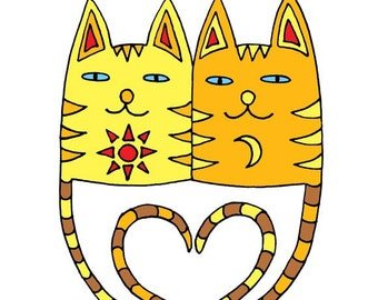 Two loving cats. Heart. Two loving cats. Graphic drawing. Painted in a marker, painted in a graphics editor