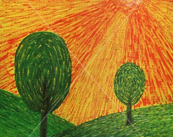 Orange sunset. Energy acrylic painting. Painting for the house. Format 25x30 cm
