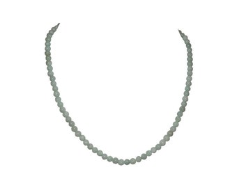 Chinese Light Green Jadeite Jade Bead Necklace