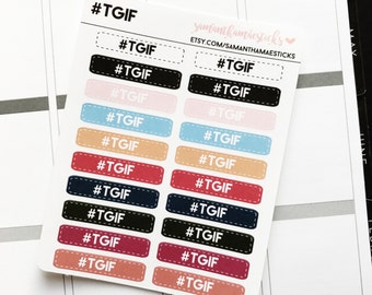Hashtag TGIF Labels for use with Erin Condren Lifeplanner™ Happy Planner Stickers