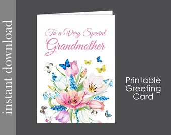 Grandmother Card, Printable Card, Grandma Mothers Day, Grandma Birthday, generic grandmother, diy card, card download, Grandma get well