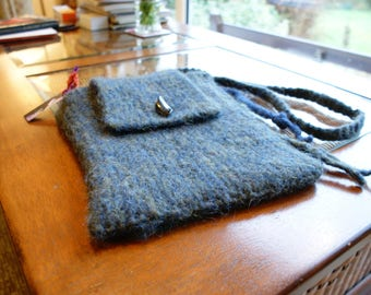 Greeny Blue felted shoulder bag