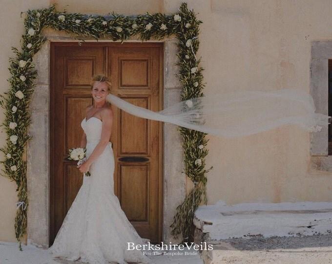 Cathedral Length Wedding Veil | Ivory Wedding Veil | Wedding Veil Cathedral | Raw Edge wedding Veil | Singe Tier Veil