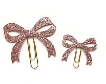 Mauve Glitter Bow Paper Clips