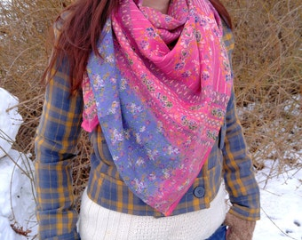 Spring floral scarf--lightweight square scarf made from a recycled sari from India