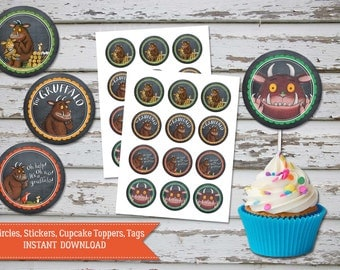 Gruffalo Cupcake Toppers, Gruffalo Birthday Toppers, Gruffalo Favour Tags, Gruffalo circles, Gruffalo party INSTANT DOWNLOAD