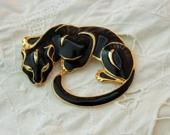 Panther Brooch Broach Large Cat Brooch Black Enamel Cat Pin Black Enamel Gold Plate Accents Smooth Sleek Lines Excellent Vintage Condition