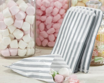 Silver and White Candy Striped Bags, Candy Bags, Sweet Bags, Favour Bags, Favor Bags, Party Bags, Wedding Favour Bags, Wedding Decorations