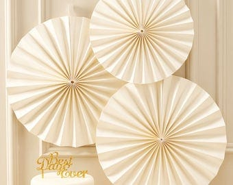 Ivory Sparkle Paper Fan Decorations, Paper Fans, Party Decorations, Pinwheels, Wedding Decorations, Baby Shower, Christening Party, Display