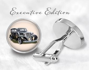 Old Car Cufflinks - Retro Vintage Car Cufflink - Classic Car Cuff Links (Pair) Lifetime Guarantee (S0255)