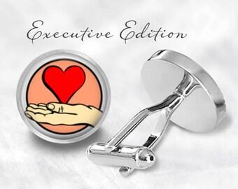 Heart Cufflinks - Heart in Hand Cufflinks - Holding Heart Cuff Links (Pair) Lifetime Guarantee (S0853)