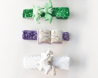 Magical and Enchanted Hair Clip Sets- Mermaid Princess Tea Party and Unicorns