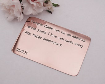7th anniversary gift,seven year anniversary,gift for her, wallet card insert,keychain purse,copper wallet insert,wife gift,girlfriend gift